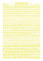 Woodland Gothic R.R. Letters Yellow 1/16 - 5/16 Model Railroad Decal #mg724