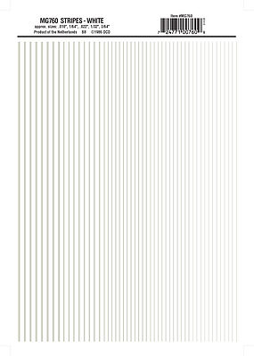 Woodland White Stripes .010 - 3/64 Model Railroad Decal #mg760