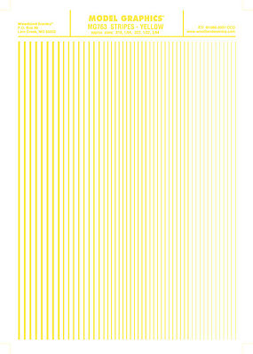 Woodland Stripes Yellow .010 - 3/64 Model Railroad Decal #mg763