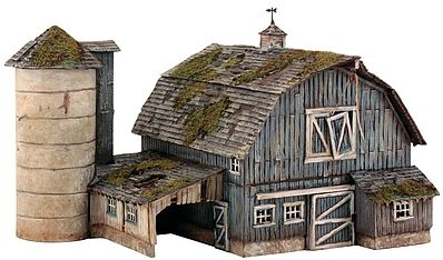 Woodland Rustic Barn Pre Fab Kit HO Scale Model Railroad Building #pf5190