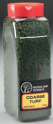 Woodland Scenics Turf Coarse Dark Green 32 oz -- Model Railroad Grass Earth -- #t1365
