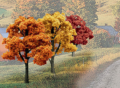 Woodland Scenics Ready Made Trees Value Pack -- Fall Deciduous Trees 3''-5'' (14) -- Model Railroad Tree -- #tr1577
