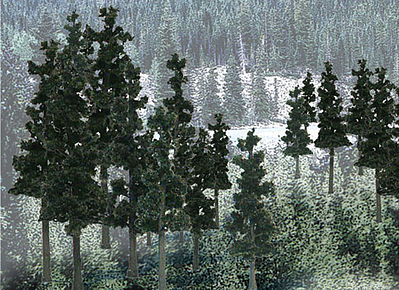 Woodland Scenics Ready Made Trees Value Pack -- Conifer Pine Trees 2.5''-4'' (33) -- Model Railroad Tree -- #tr1580