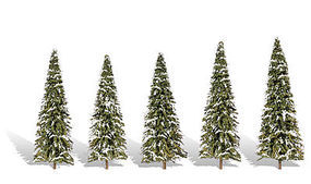 Woodland Snow Dusted Trees 2 - 3.5 (5) Model Railroad Trees #tr3567