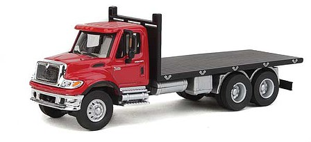 Walthers-Acc International(R) 7600 3-Axle Flatbed Truck - Assembled Red Cab, Black Flatbed