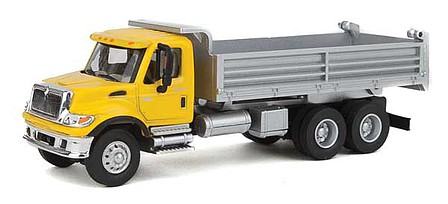 Walthers-Acc International(R) 7600 3-Axle Heavy-Duty Dump Truck - Assembled Yellow Cab, Silver Dump Body
