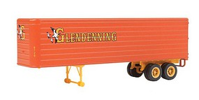Walthers-Acc 35 Fluted-Side Trailer 2-Pack - Assembled Glendenning (orange, yellow w/geese logo)