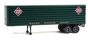 Walthers-Acc 35 Fluted-Side Trailer 2-Pack - Assembled Railway Express Agency (dark green, white, gold)