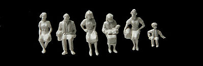 Walthers Accessories Sitting Figures Unpainted (72) -- HO Scale Model Railroad Figure -- #6051