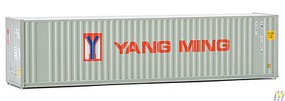Walthers-Acc 40 Hi-Cube Corrugated Container w/Flat Roof - Assembled Yang Ming (gray, red, blue)