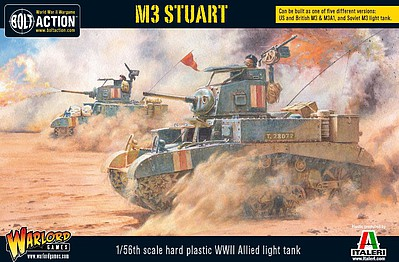 Warload-Games WWII M3 Stuart Allied Light Tank Plastic Model Tank Kit 1/56 Scale #13002