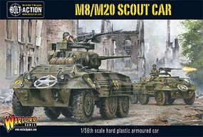 Warload-Games WWII M8/M20 Greyhound US Scout Car Plastic Model Military Vehicle Kit 1/56 Scale #13005