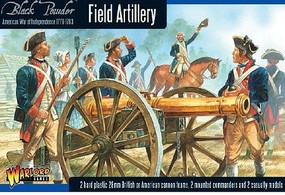 Warload-Games 28mm Black Powder- Field Artillery 1776-1783 (2 Mtd Figs, 2 Casualty Figs, 2 Cannons) (Plastic) (REPLACES AWI02)