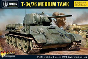 Warload-Games WWII T34/76 Soviet Medium Tank Plastic Model Tank Kit 1/56 Scale #14007