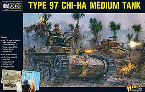 Warload-Games WWII Type 97 Chi-Ha Japanese Medium Tank Plastic Model Tank Kit 1/56 Scale #16002