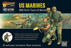Warload-Games WWII US Pacific Theatre Marines (30) Plastic Model Figure Kit 1/56 Scale #ai06