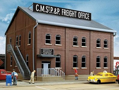 Walthers Brick Freight Office - Kit - 8-13/16 x 9 x 6-1/8 HO Scale Model Railroad Building #2953