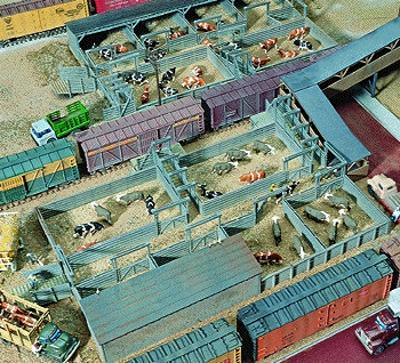 Walthers Stock Yard - 2 Pens - Kit - 9 x 7 22.8 x 17.7cm HO Scale Model Railroad Building #3047