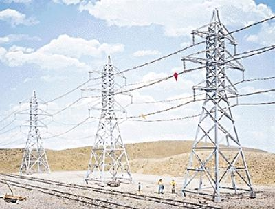 Walthers High-Voltage Transmission Tower (4) Kit HO Scale Model Railroad trackside Accessory #3121