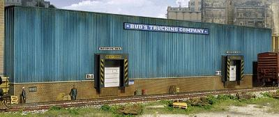 Walthers Bud's Trucking Company Background Building - Kit -- HO Scale Model Railroad Building