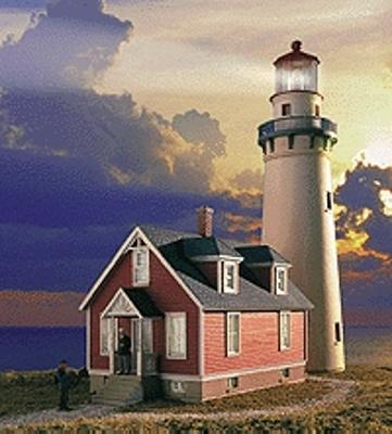 Walthers Gold Ribbon Series(TM) Easy-to-Build Plastic Kits -- Rocky Point Lighthouse w/Working Lights 3 x 8-1/8 x 8-7/8'' 7.5 x 20.3 x 22.8cm - HO-Scale