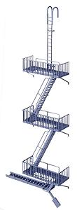 Walthers Vintage Fire Escape - Kit HO Scale Model Railroad Building Accessory #3729
