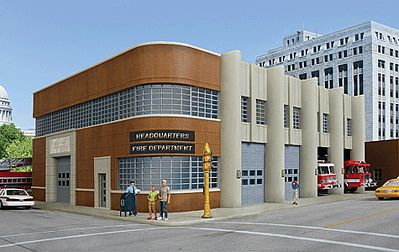 Fire Department Headquarters Kit Ho Scale Model Railroad