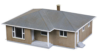Brick ranch house kit n scale model railroad building for Ranch home kits