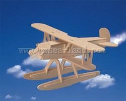 Wood-3D Heinkel He51 BiPlane with Floats (8.5 Wingspan) Wooden 3D Jigsaw Puzzle #1004