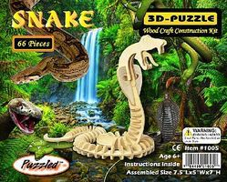 Wood-3D Cobra Snake (7 Tall) Wooden 3D Jigsaw Puzzle #1005