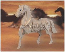 Wood-3D Horse (9 Tall) Wooden 3D Jigsaw Puzzle #1015