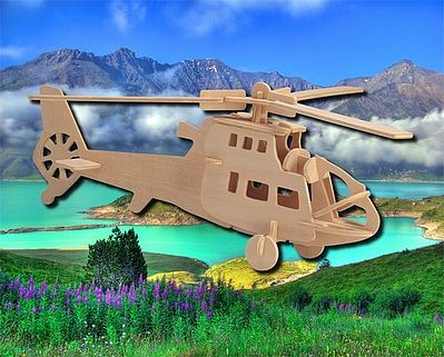 Wood 3-D Puzzles Fighter Helicopter (11'' Long) -- Wooden 3D Jigsaw Puzzle -- #1018