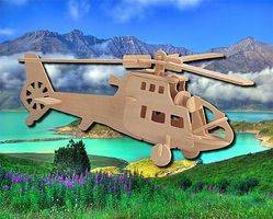 Wood-3D Fighter Helicopter (11 Long) Wooden 3D Jigsaw Puzzle #1018