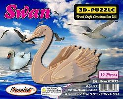Wood-3D Swan Skeleton Puzzle (5.5'' Long) Wooden 3D Jigsaw Puzzle #1032