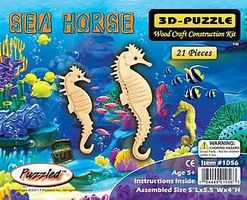 Wood-3D Sea Horse (7 Tall) Wooden 3D Jigsaw Puzzle #1056