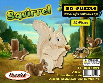 Wood 3-D Puzzles Squirrel (4.7'' Tall) -- Wooden 3D Jigsaw Puzzle -- #1091