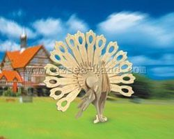 Wood-3D Peacock (9.5 Tall) Wooden 3D Jigsaw Puzzle #1103