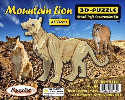 Wood 3-D Puzzles Mountain Lion (9'' Long) -- Wooden 3D Jigsaw Puzzle -- #1104