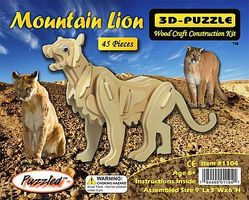 Wood-3D Mountain Lion (9 Long) Wooden 3D Jigsaw Puzzle #1104