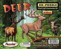 Wood-3D Deer (9 Long) Wooden 3D Jigsaw Puzzle #1108