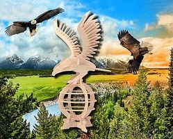 Wood-3D Bald Eagle (13 Tall) Wooden 3D Jigsaw Puzzle #1109