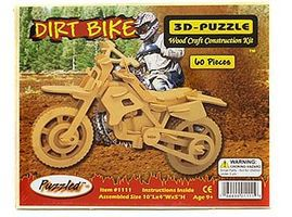 Wood-3D Dirt Bike (10 Long) Wooden 3D Jigsaw Puzzle #1111