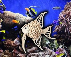 Wood-3D Angel Fish (10 Long) Wooden 3D Jigsaw Puzzle #1201