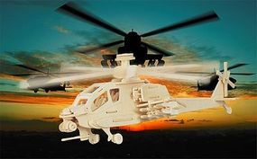 Wood-3D Apache Helicopter (15 Long) Wooden 3D Jigsaw Puzzle #1202