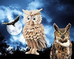 Wood-3D Owl (7 Tall) Wooden 3D Jigsaw Puzzle #1208