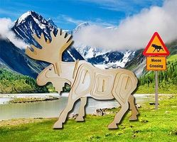 Wood-3D Moose (10 Long) Wooden 3D Jigsaw Puzzle #1212