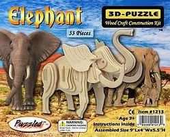 Wood-3D Elephant (9 Long) Wooden 3D Jigsaw Puzzle #1213