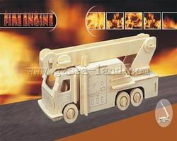 Wood-3D Fire Engine Truck (8.5 Long) Wooden 3D Jigsaw Puzzle #1226