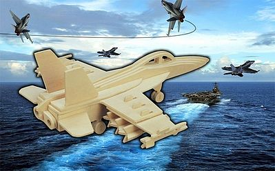 Wood 3-D Puzzles F18 Hornet Fighter (8'' Wingspan) -- Wooden 3D Jigsaw Puzzle -- #1239