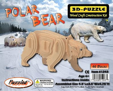 Wood 3-D Puzzles Polar Bear (9.5'' Long) -- Wooden 3D Jigsaw Puzzle -- #1243